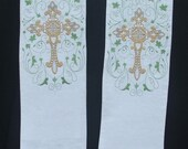 Clergy Stole, Vestment, White with Filligree Cross Design with leaf frame, Weddings MADE TO ORDER