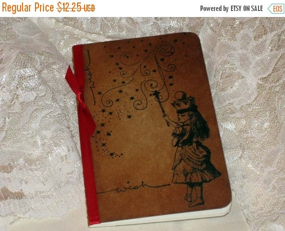 End of Summer Handmade Moleskine Wish Notebook Altered with Alice in Wonderland