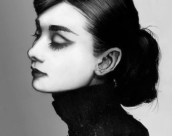 Audrey Hepburn print of a pencil drawing