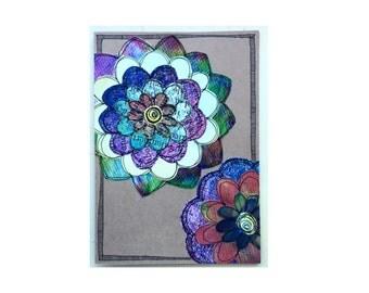 Handmade Blank Card - Paper Flower Garden series 1 - 5x7 (PFGL-0032)