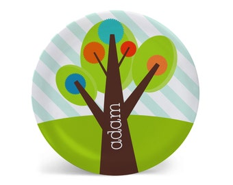 Personalized Melamine Plate-Whimsy Tree One