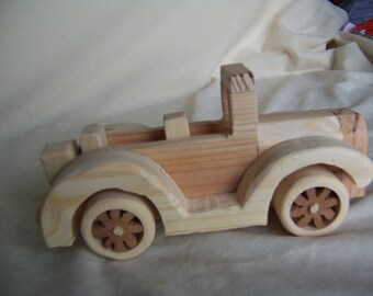 Toy car 1924 Ford Roadster handcrafted from recycled solid wood.