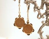 Movable Tambourine Earrings - Adorable Tiny Vintage Brass Mechanical Miniature Charms - Gypsy Boho Bohemian Dangle Drop Earrings