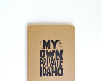My own private Idaho moleskine notebook, Movie quote journal, B52s song lyrics notebook, River Phoenix, Keanu Reeves, pocket notebook