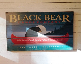 Black Bear Canoe Company, Handcrafted Rustic Wood Sign, Mountain Decor for Home and Cabin, 3026