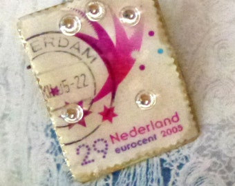 Dutch stamp brooch- postzegel broche