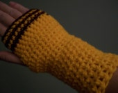 Cleveland Fingerless Mittens Gloves Maroon and Gold hand crocheted