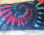 Bed pillow tie dye spiral hand dyed cotton. Navy, turquoise and pink.  Student bedding 100% cotton