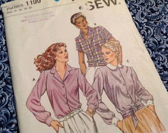 Kwik Sew pattern 1199, blouse pattern, uncut pattern