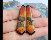 Multi-Color Picasso Jasper,Obsidian Intarsia Earring Bead,42x12x4mm,5.7g