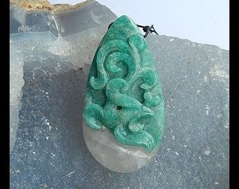 Carved Amazonite Flower Pendant Bead,44x23x10mm,16.0g