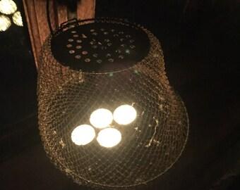 Fisherman's net, vintage fishkeeper, french bourriche, fishing net france, vintage candleholder, antique lighting