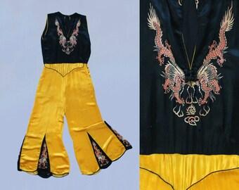 Rare!! 1930s Beach Pajamas  / 30s Chinoiserie Art Deco Liquid Satin Jumpsuit / Black and Marigold Yellow / Embroidered Dragons