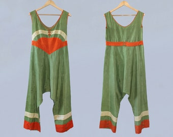 RESERVED Rare! 1930s Beach Pajamas  / 30s Chinoiserie Art Deco Colorful Striped Jumpsuit! M L
