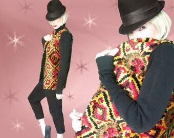 Vintage Tapestry Vest - 70s Long Boho / Hippie Vest - Chenille Tapestry - Halloween Cosplay