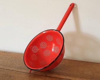 Vintage red enamel metal colander strainer kitchen