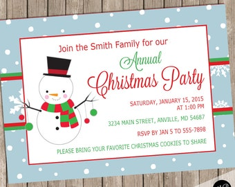 Annual Christmas party invitation, Christmas invitation, holiday invitation, holiday party invitation, snowflake invitation, red green CRS03