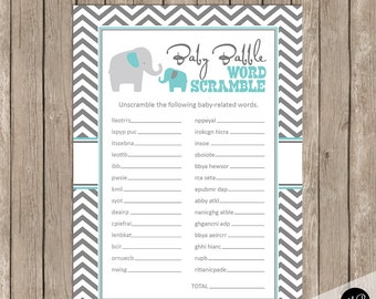 Baby Babble Word Scramble Shower Game, elephant baby shower game, baby shower game, blue and grey baby shower activity, word game ET01