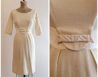1950s Ivory Satin Wiggle Dress 50s Knit Party Dress