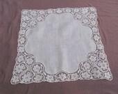 Vintage Solid White Cotton Irish Lace Trimmed Hankie - Unused