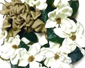 "Magnolia Floral Wreath White Spring Silk Floral Grapevine Twig Wreath Indoor Outdoor 24"""