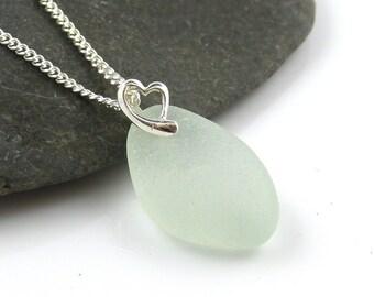 Sea Glass Pendant Sea Glass Necklace Sterling Silver Heart Beach Glass Jewelry Seaglass Necklace Seaglass Jewelry Sea Glass Jewellery CLAIR