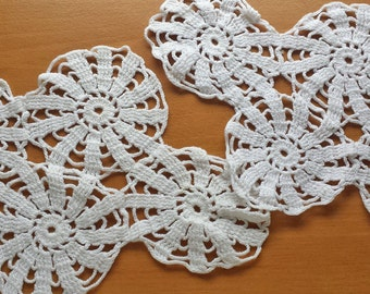 Pair of White Vintage Doilies, 2 Crocheted Armchair Doilies, about 11 x 7 inches each