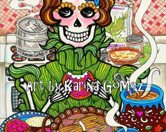 "La Tamalera / The Tamal Lady""-Art Print by KARINA GOMEZ-8""x10"",11x14""-Day of the Dead-Dia de los Muertos-Mexican Folk Art-Sugar Skulls"