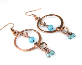 Copper Wire Earrings, Blue Beaded Copper Earrings, Womens Handmade Boho Earrings, Dangle Earrings