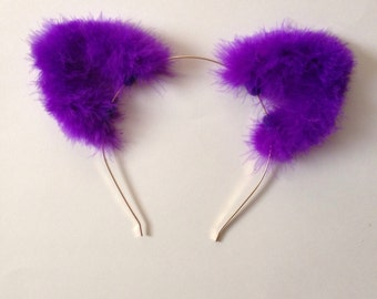 Ultraviolet Fuzzy Cat Ears