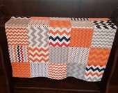 Baby Quilt in Orange Navy and Gray for a  Boy made in Riley Blake Cotton Fabric and White Minky Dot Measuring 31 by 38 inches Auburn  Quilt