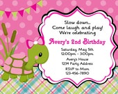 Turtle Invitation Girls Turtle Birthday Party or Baby Shower - Printable JPEG File #3