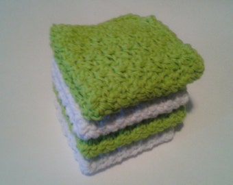 Cloth Pads Reusable, Crocheted Cotton Dishcloths, Washcloths, Set of 4- Lime Green and White