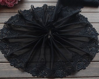 2 Yards Lace Trim Black Flower Embroidered Tulle Lace 7.87 Inches Wide High Quality