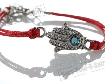 Sacred Fatima Hand Hamsa Evil Eye Bracelet STRING Kabbalah Fashion Lucky karma Spiritual Jewelry Judaica #B2s_color_Hb0_Silver_No-text_1