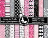 50% Off Love In Paris Mega Paper Pack - 20 Printable Digital papers - 12 x12 - 300 DPI
