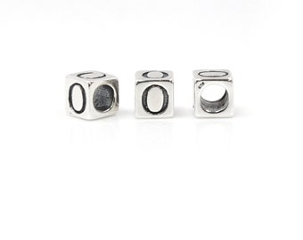 Number Beads Sterling Silver 6mm Number Block 'Zero'  - 1pc (4043) 3.8mm Inside Diameter
