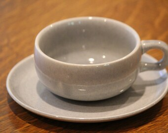Russel Wright Cups and Saucers, Gray, Grey, Granite Gray