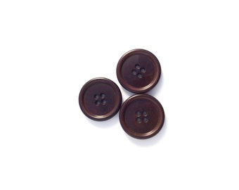 3 Large Brown Buttons, Vintage Buttons