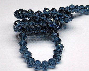 20 pcs 6x4mm Transparent Ink Blue Montana Blue Rondelle Glass Beads Set 2
