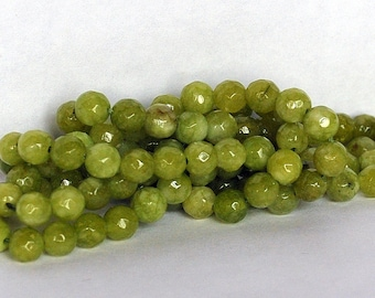 Half Strand 6mm Faceted Lime Peridot Color Round Agate Gemstone Beads - 31 beads
