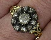 GEORGIAN ROSE CUT Diamond Silver-on-Gold Ring, Circa 1830