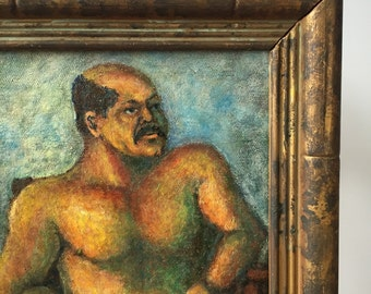 Portrait Painting:Nude Mustached Man in Chair