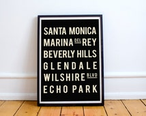 Los Angeles, LA City Art, Typography Poster, Subway Sign, Home Decor, Modern Art, Vintage Style, Holiday Gift Guide
