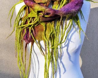 Felted scarf, fibre art, gift, purple,green