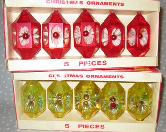 Vintage Jewelbrite Christmas Ornaments Diorama Gold Red Bells - Two Sets Plastic