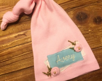 Newborn Hat - Newborn Girls - Personalized Newborn Hat - Newborn Knot Hat
