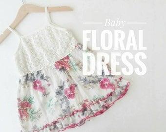Little Girl Summer Dress, Dress for Baby Girl, Vintage Style Sleeveless dress, Floral summer dress with crochet top