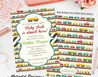 car baby shower invitation baby boy shower birthday party truck digital printable baptism baby sprinkle (item 1264) shabby chic invitations