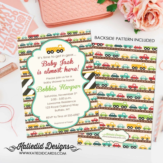 car baby shower invitation baby boy shower birthday party truck digital printable baptism baby sprinkle (item 1264) shabby chic invitations